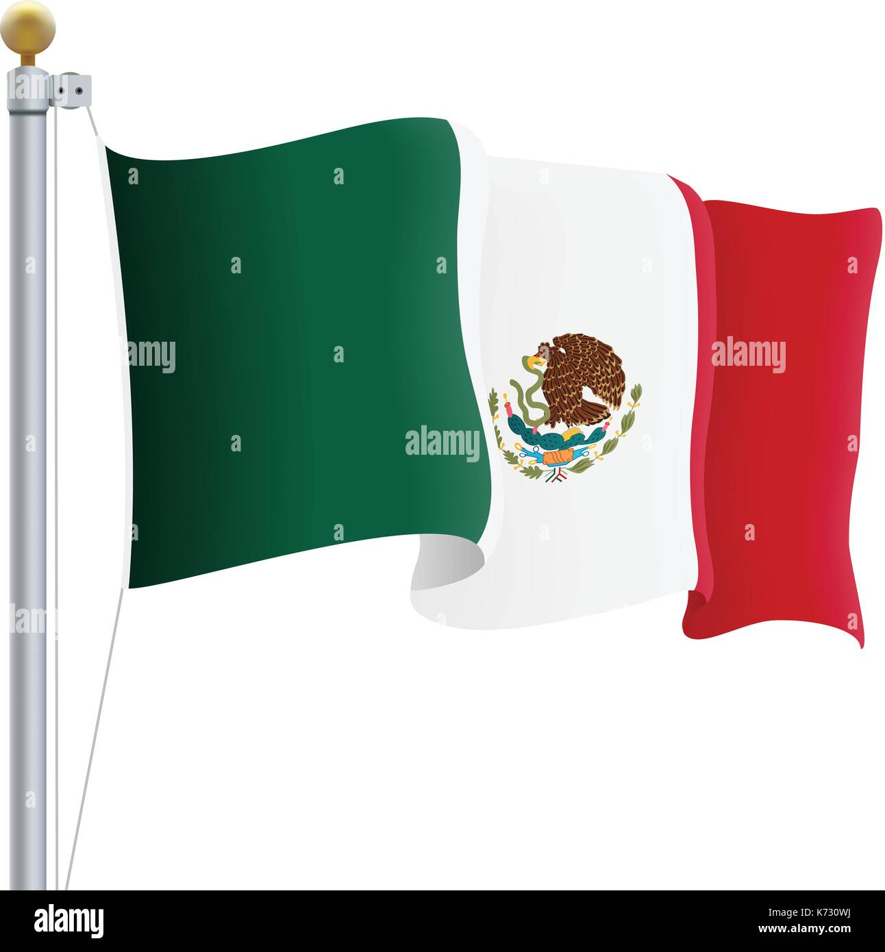 Waving Mexico Flag Isolated On A White Background. Vector Illustration. - Stock Image