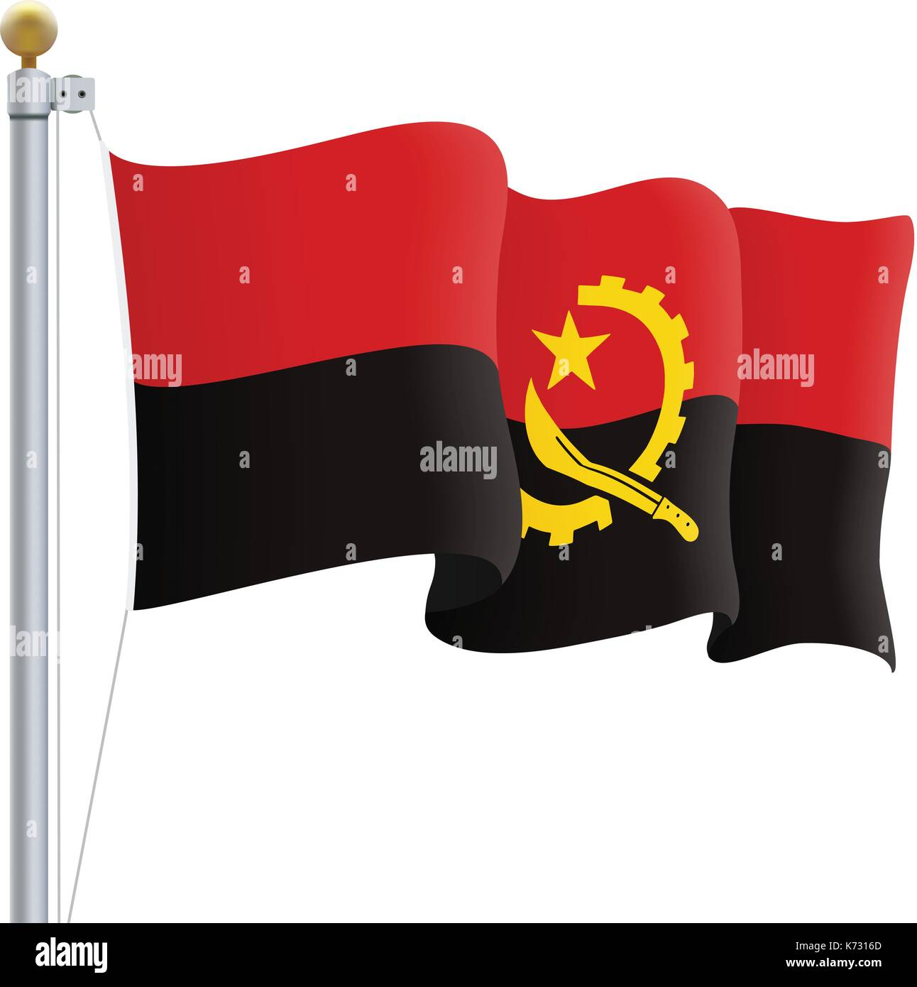Waving Angola Flag Isolated On A White Background. Vector Illustration. - Stock Vector