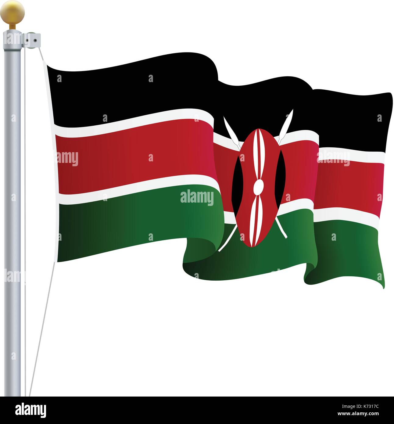 Waving Kenya Flag Isolated On A White Background. Vector Illustration. Stock Vector