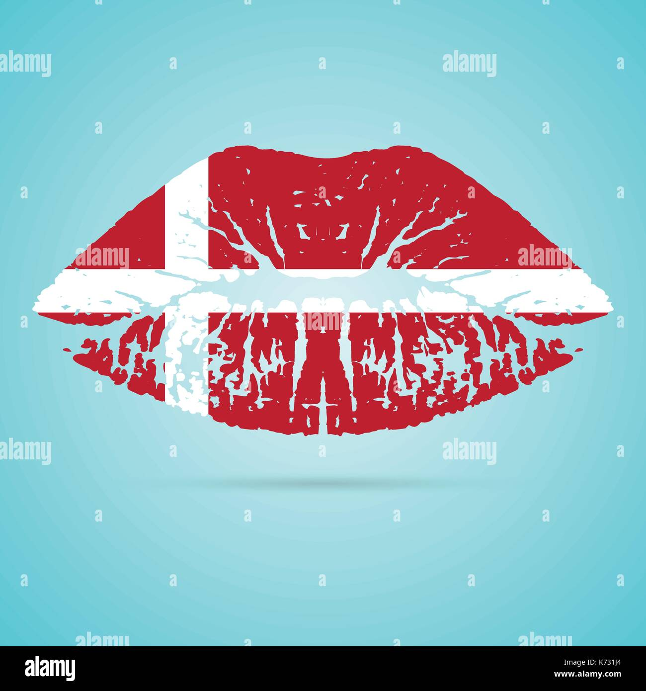 Denmark Flag Lipstick On The Lips Isolated On A White Background. Vector Illustration. - Stock Image