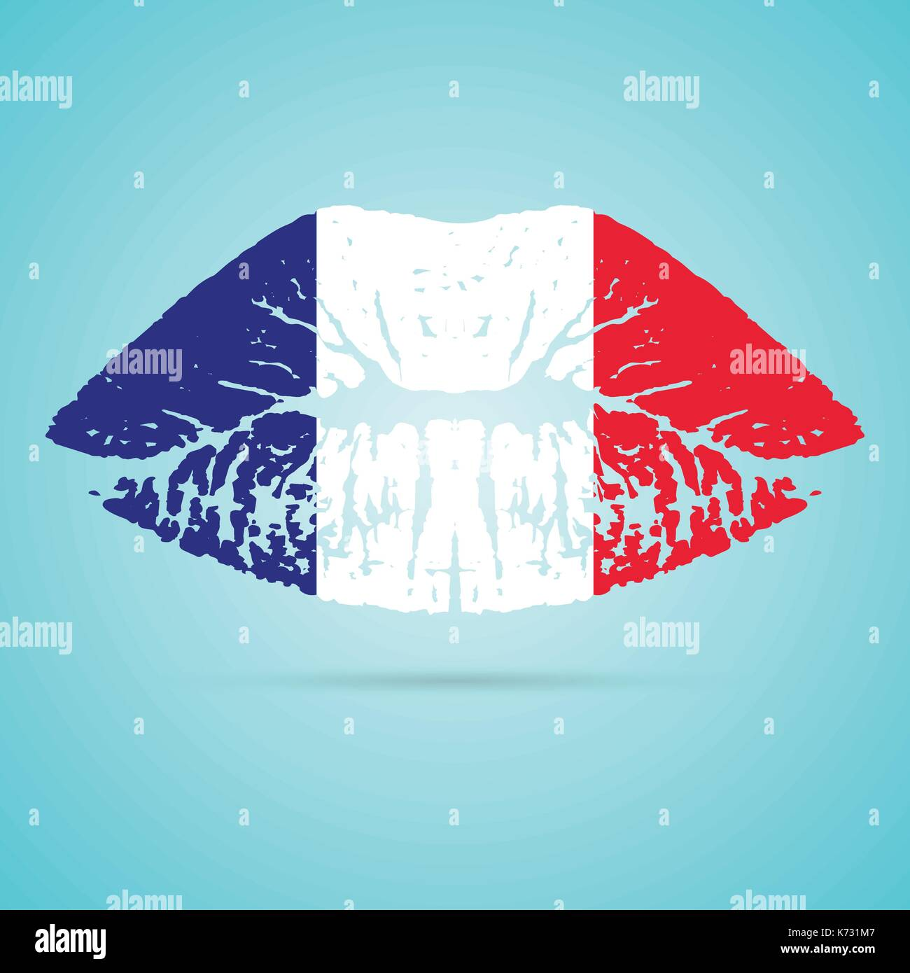 France Flag Lipstick On The Lips Isolated On A White Background. Vector Illustration. - Stock Image