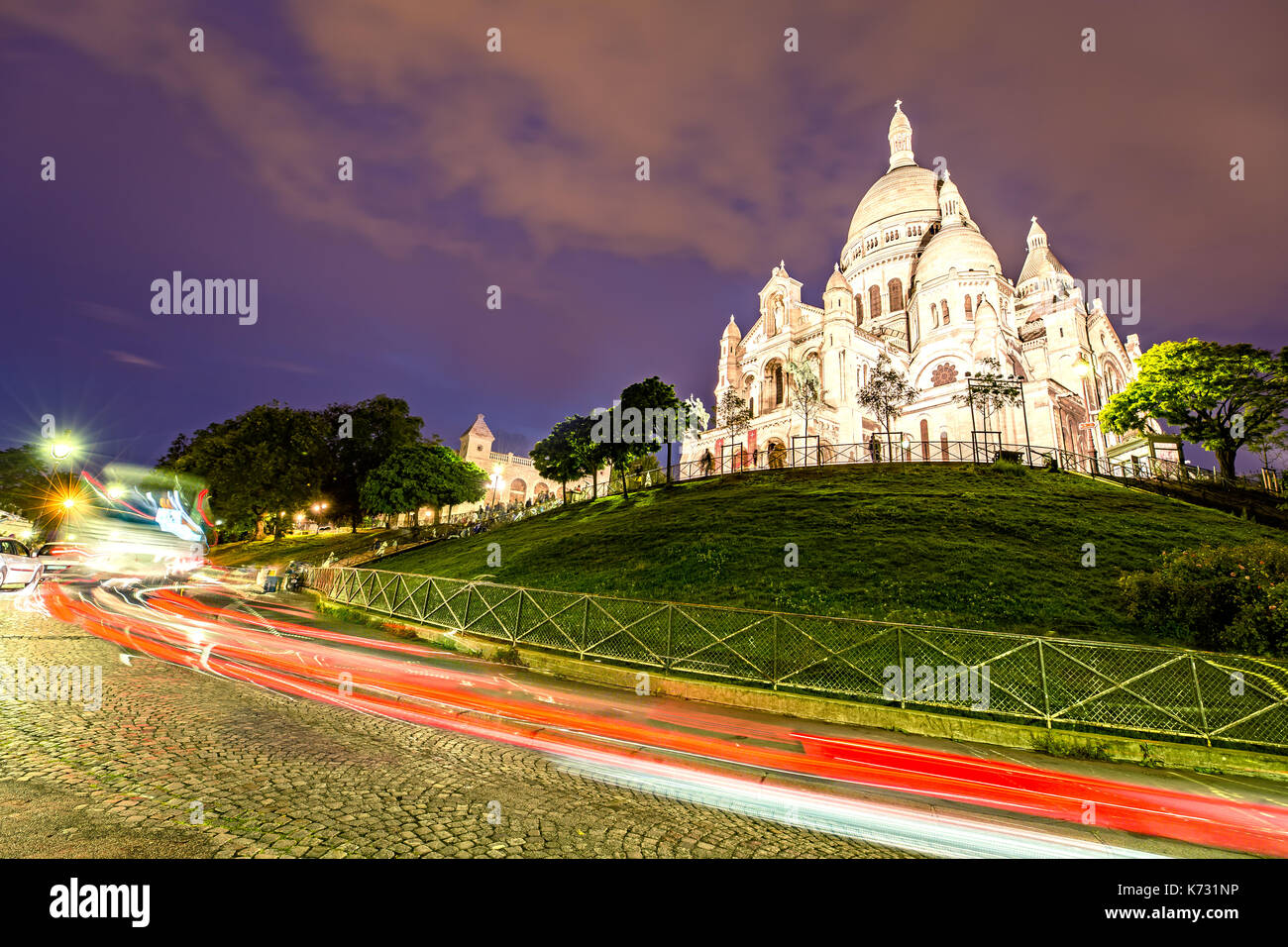 Sacre Coeur in Paris light up at Night Stock Photo
