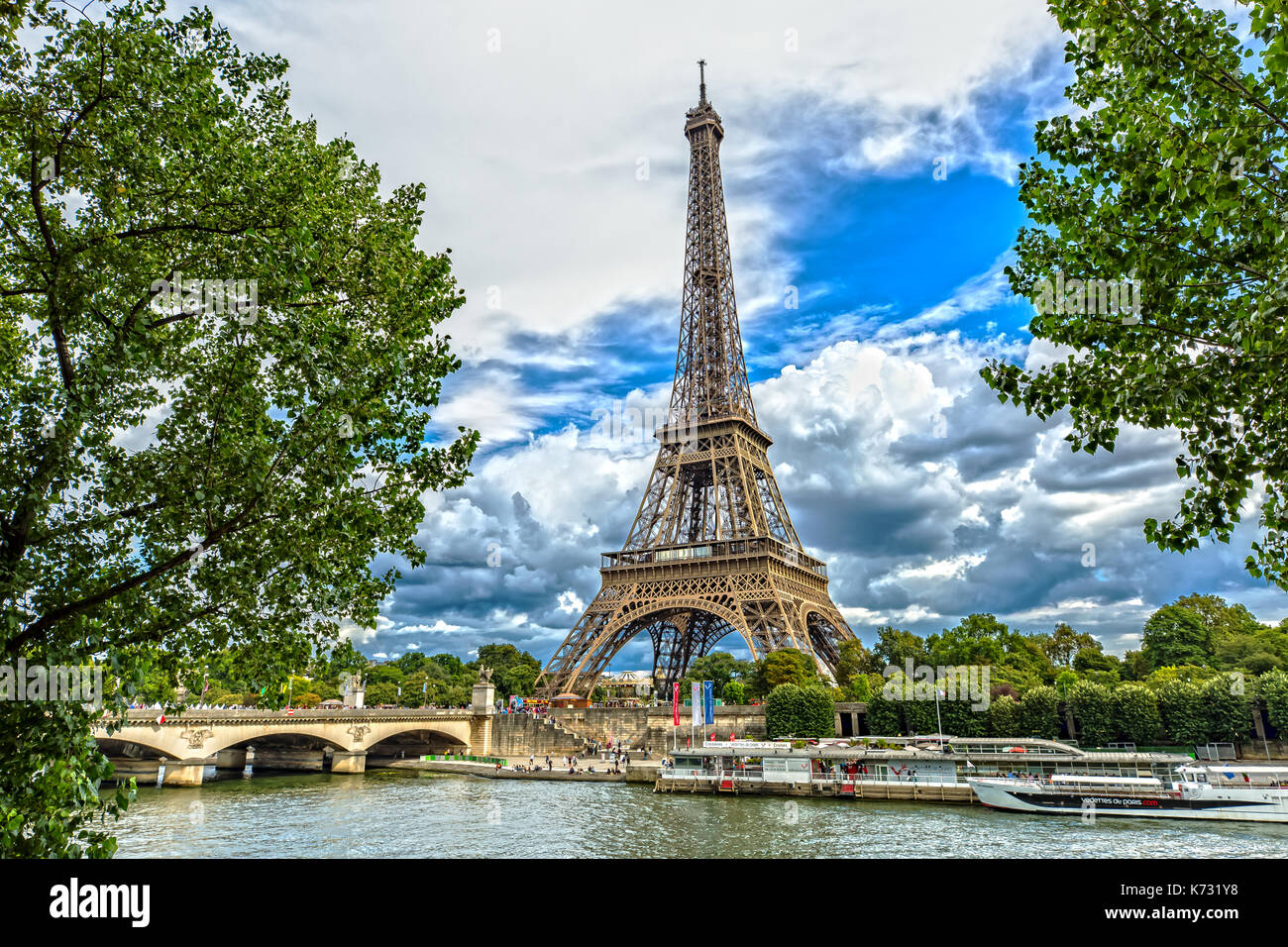 View over the Eiffel Tower in Paris - Stock Image