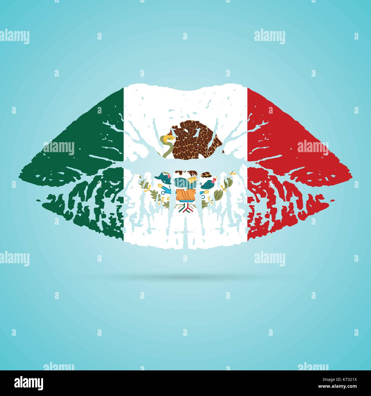 Mexico Flag Lipstick On The Lips Isolated On A White Background. Vector Illustration. - Stock Image