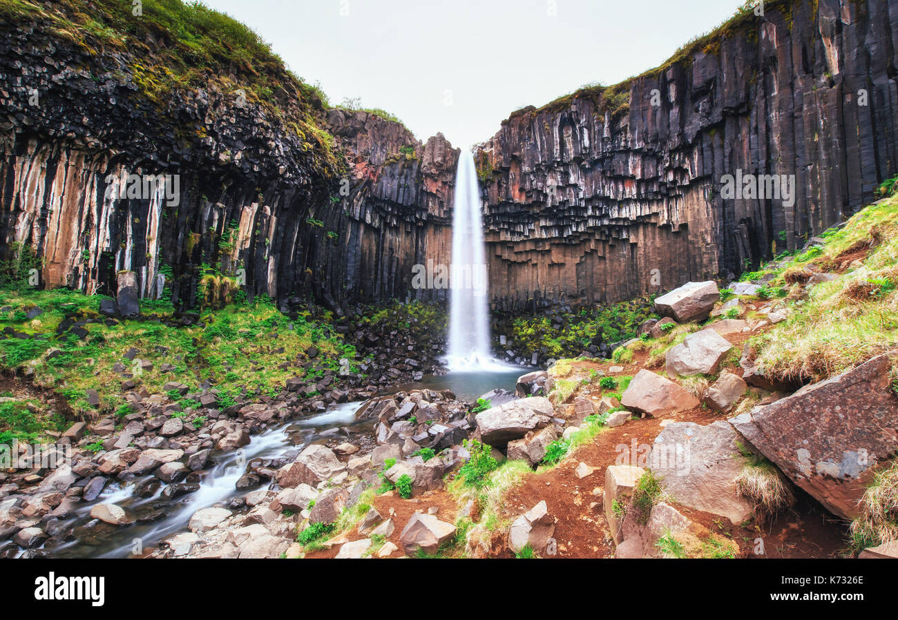 Great view of Svartifoss waterfall. Dramatic and picturesque scene. Popular tourist attraction. Iceland - Stock Image