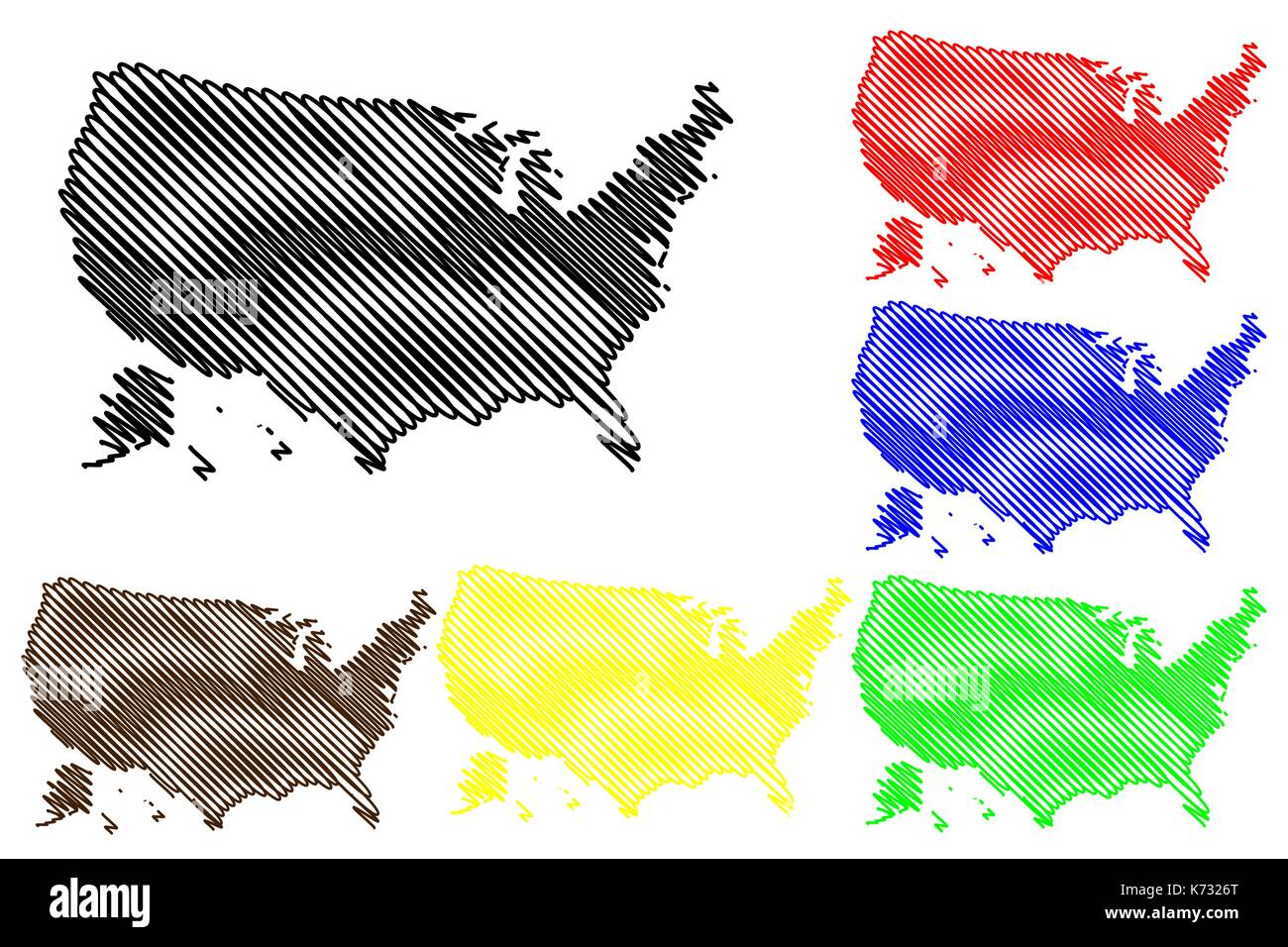 united states of america map vector illustration scribble sketch usa stock image
