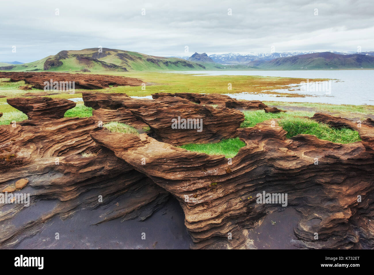Scenic view of volcanic rocks in Iceland. - Stock Image