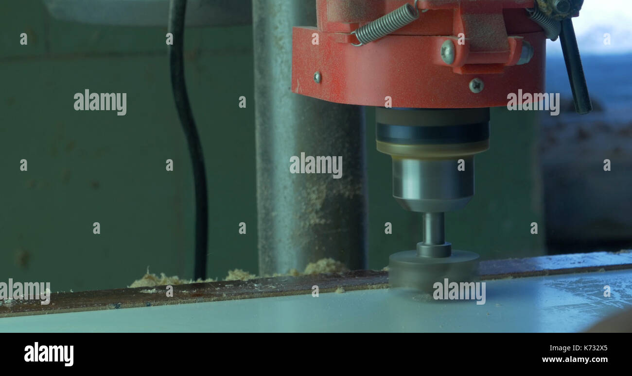In a furniture factory, a man drills holes for furniture hinges. Drill Forstner. Forstner bit drilling into soft wood, closeup - Stock Image