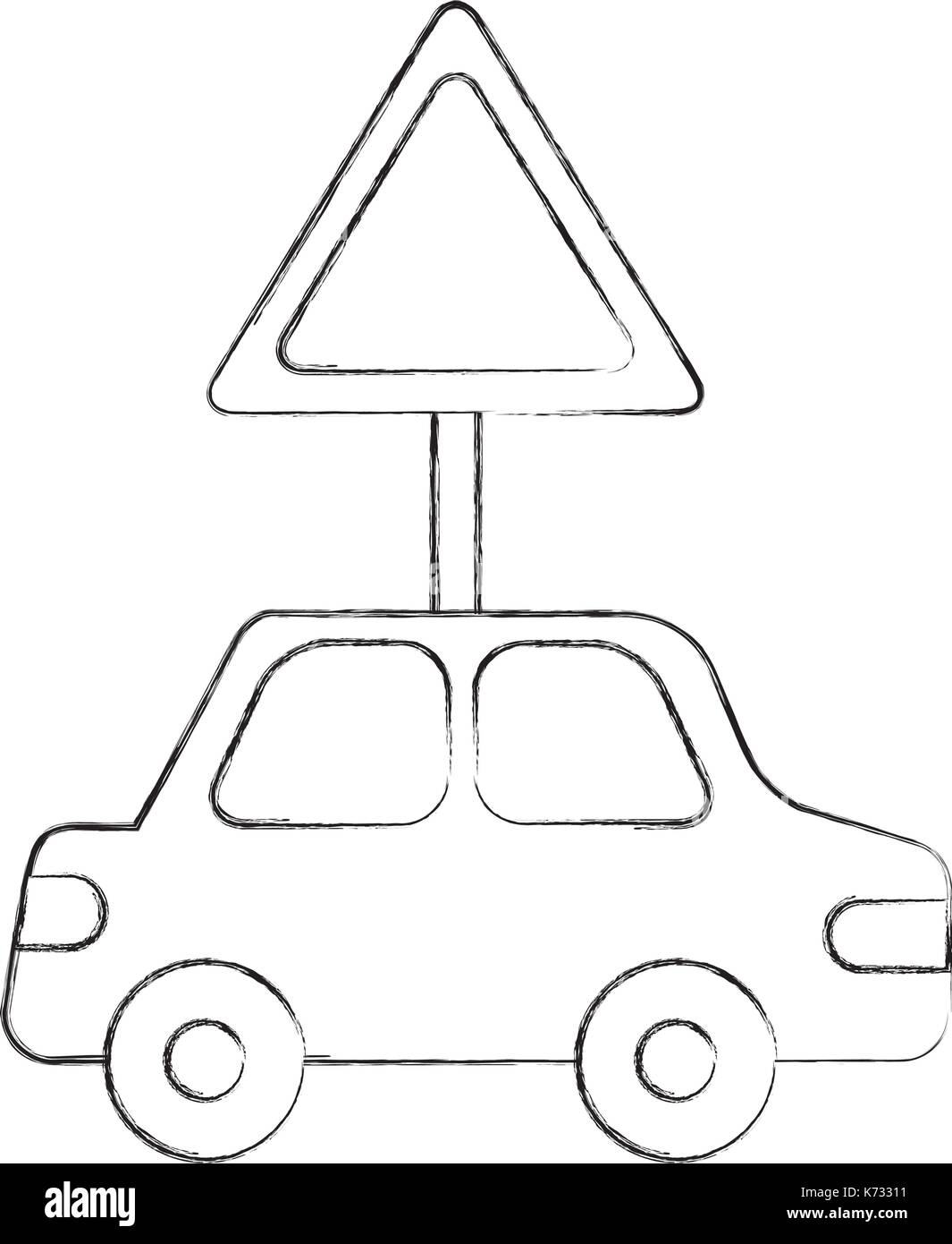 car vehicle with traffic signal transport information Stock Vector