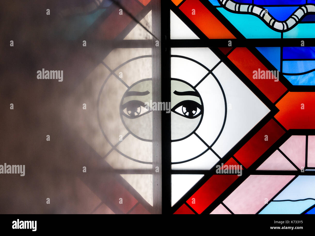Remo Riva stained glass window inside the Standard Chartered Bank Building, Central, Hong Kong. Jayne Russell/Alamy Stock Photo - Stock Image