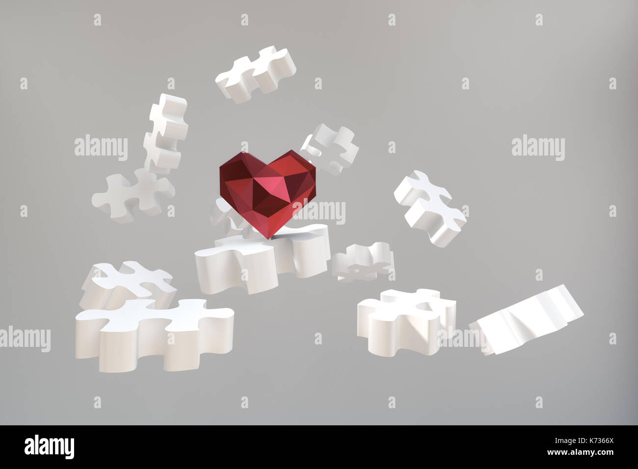 3d rendering of low poly heart shape on flying puzzle blocks