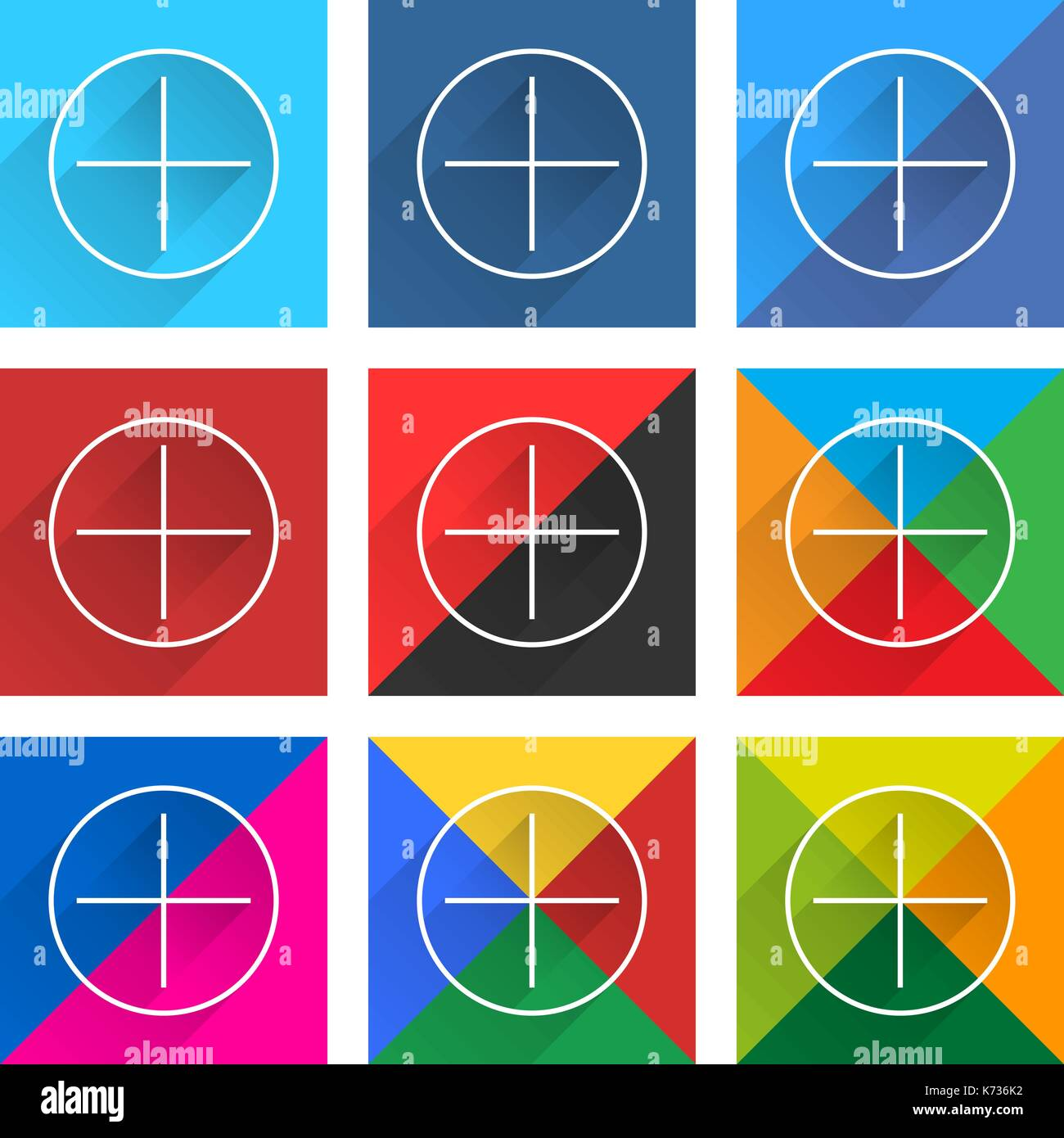 9 popular social network icon set with plus sign in circle with long diagonal shadow. Square web button on white background - Stock Image