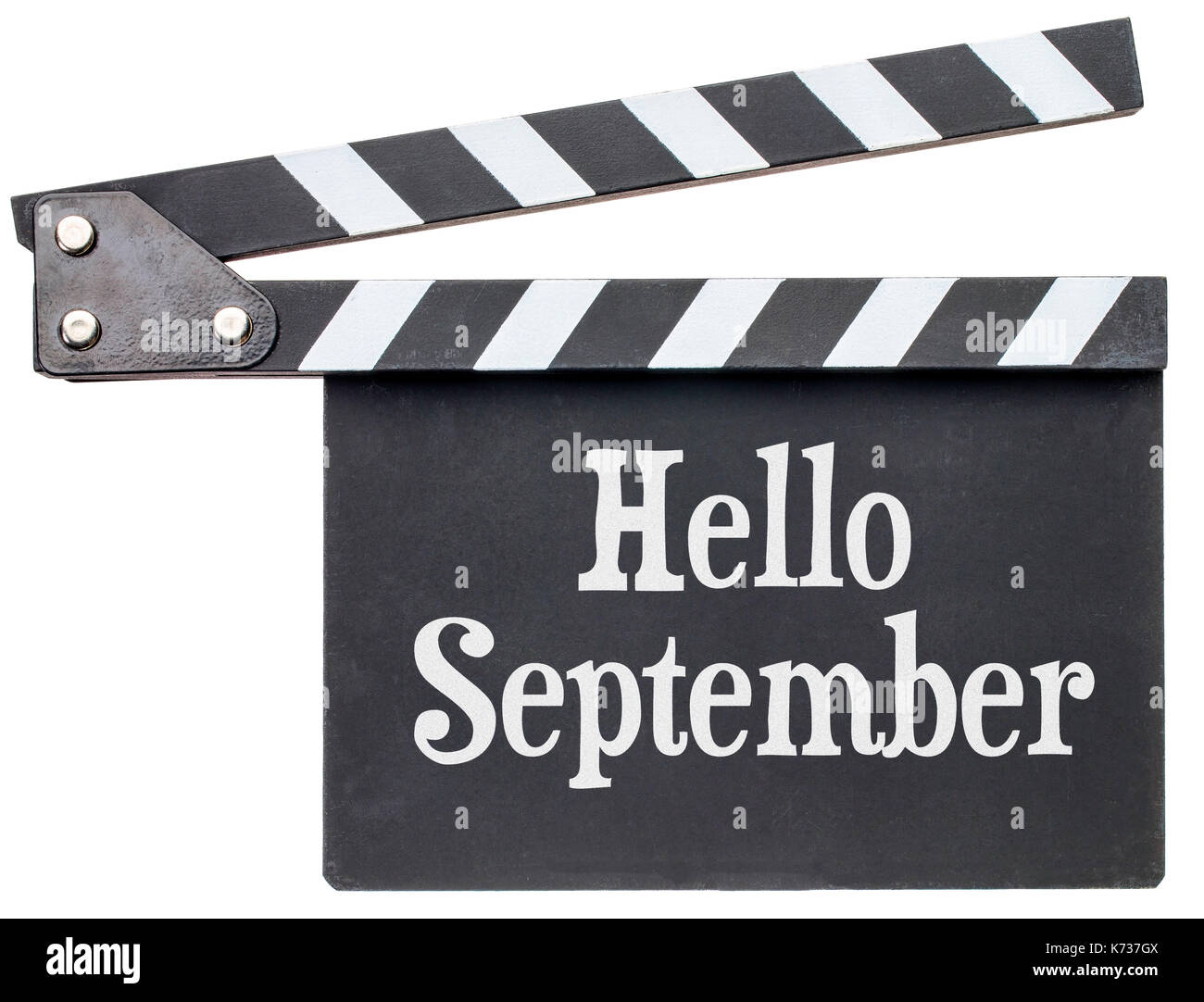 Hello September movie title in white chalk on clapboard isolated on white - Stock Image