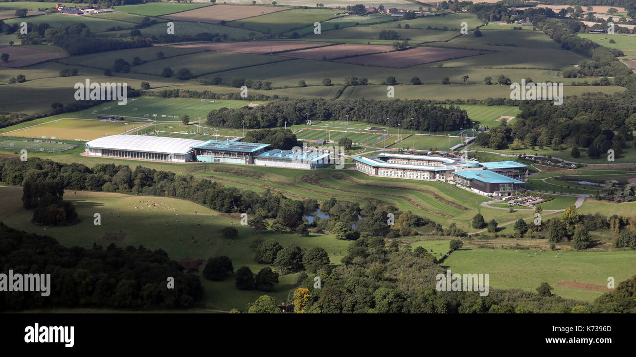 aerial view of St George's Park, football training centre, Burton upon Trent, Derbyshire, UK - Stock Image