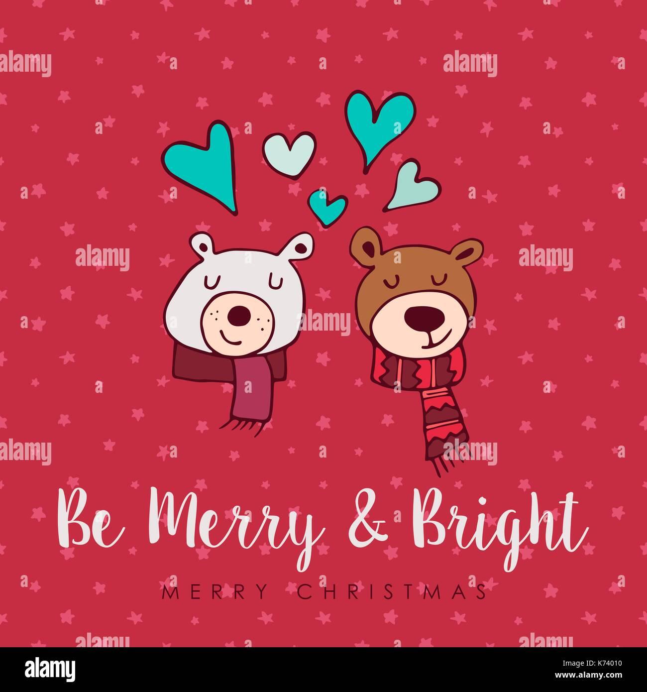 Merry Christmas Hand Drawn Bear Greeting Card Illustration Cute