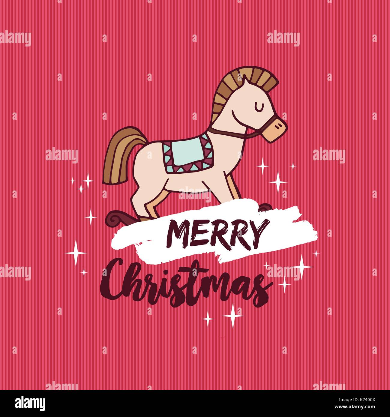 Merry Christmas Red Hand Drawn Greeting Card Cute Rocking Horse Toy Stock Vector Image Art Alamy