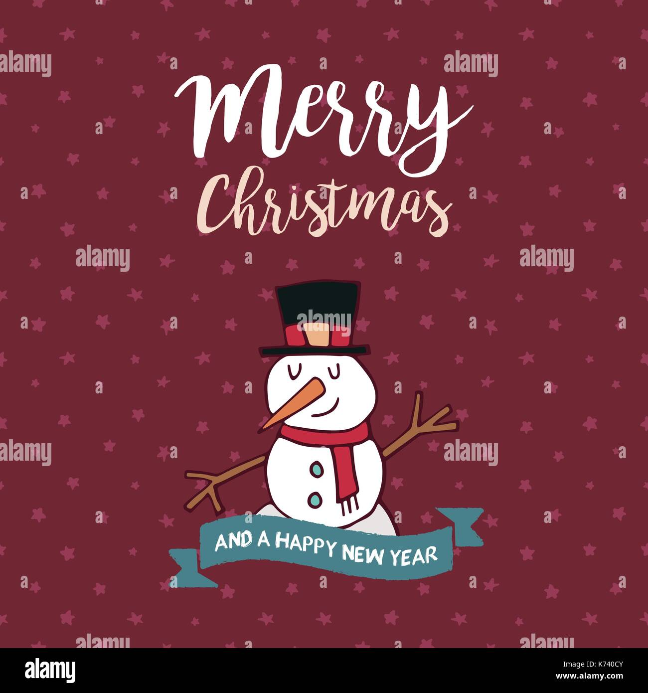 Merry Christmas Happy New Year hand drawn greeting card ...