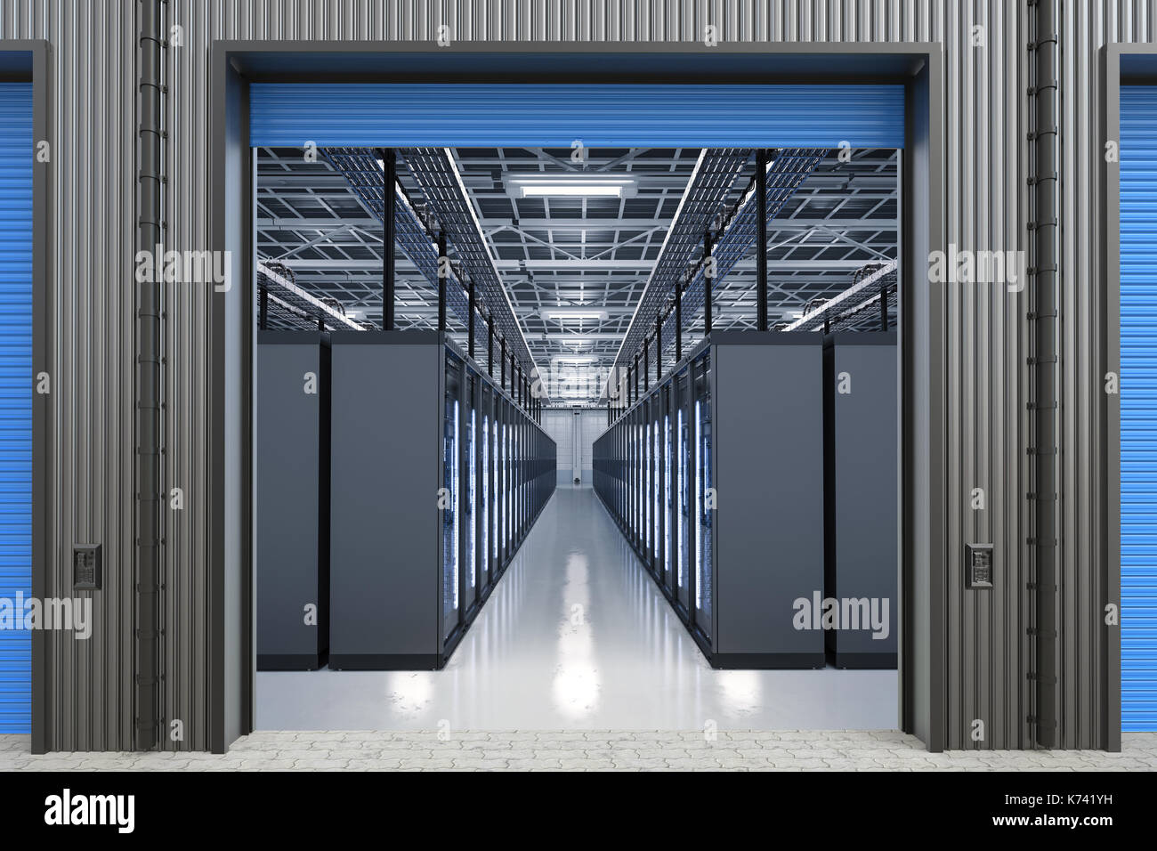 3d rendering server computers or mainframe computer in warehouse - Stock Image