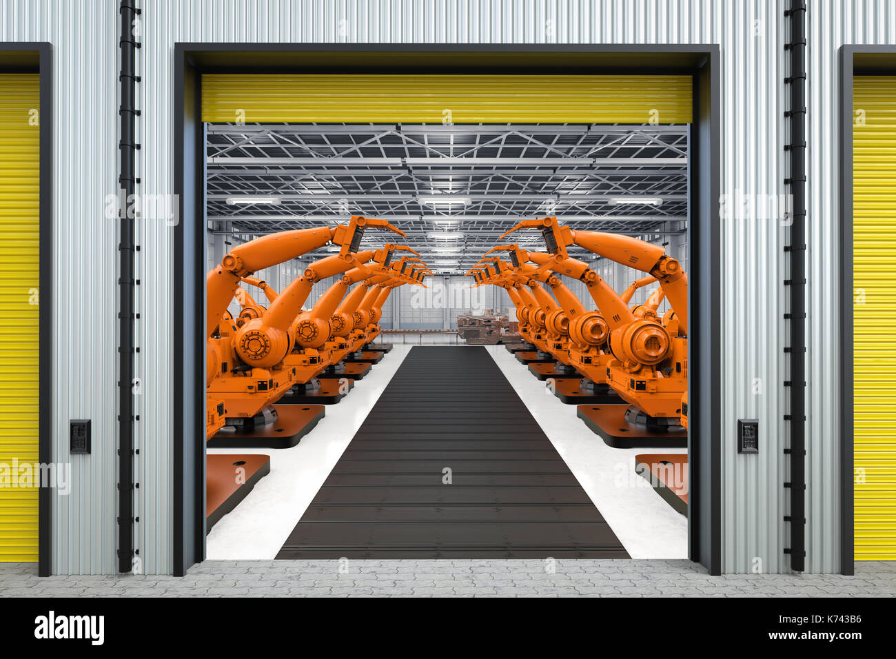 3d rendering robot arms with conveyor line in factory - Stock Image