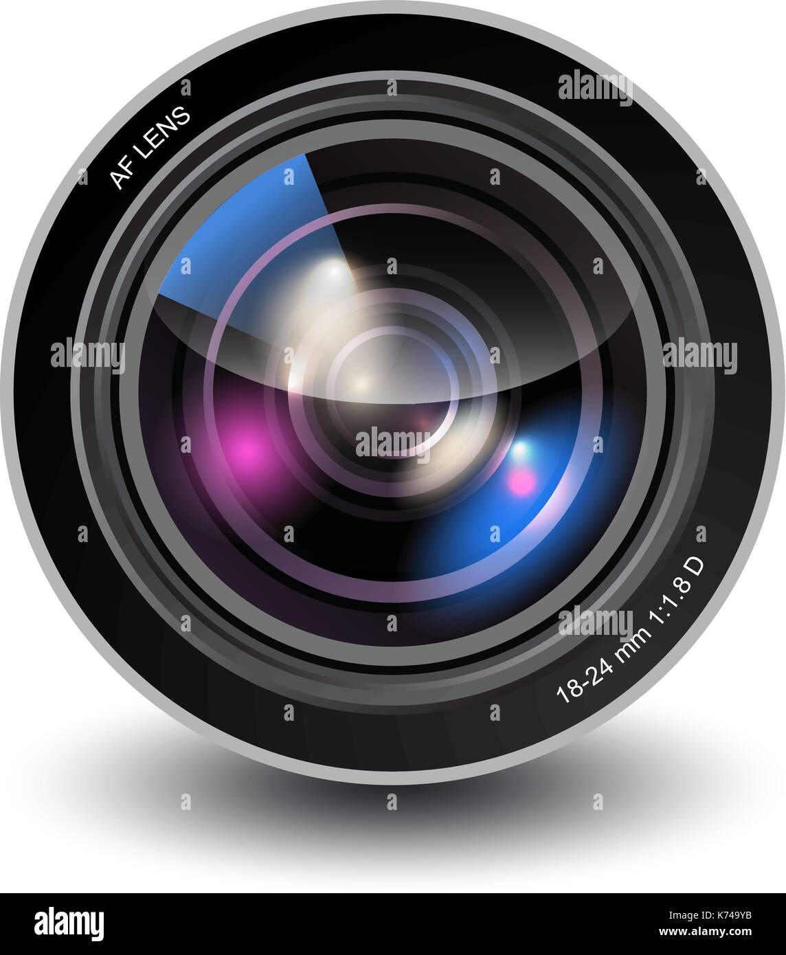 Vector camera lens - Stock Image