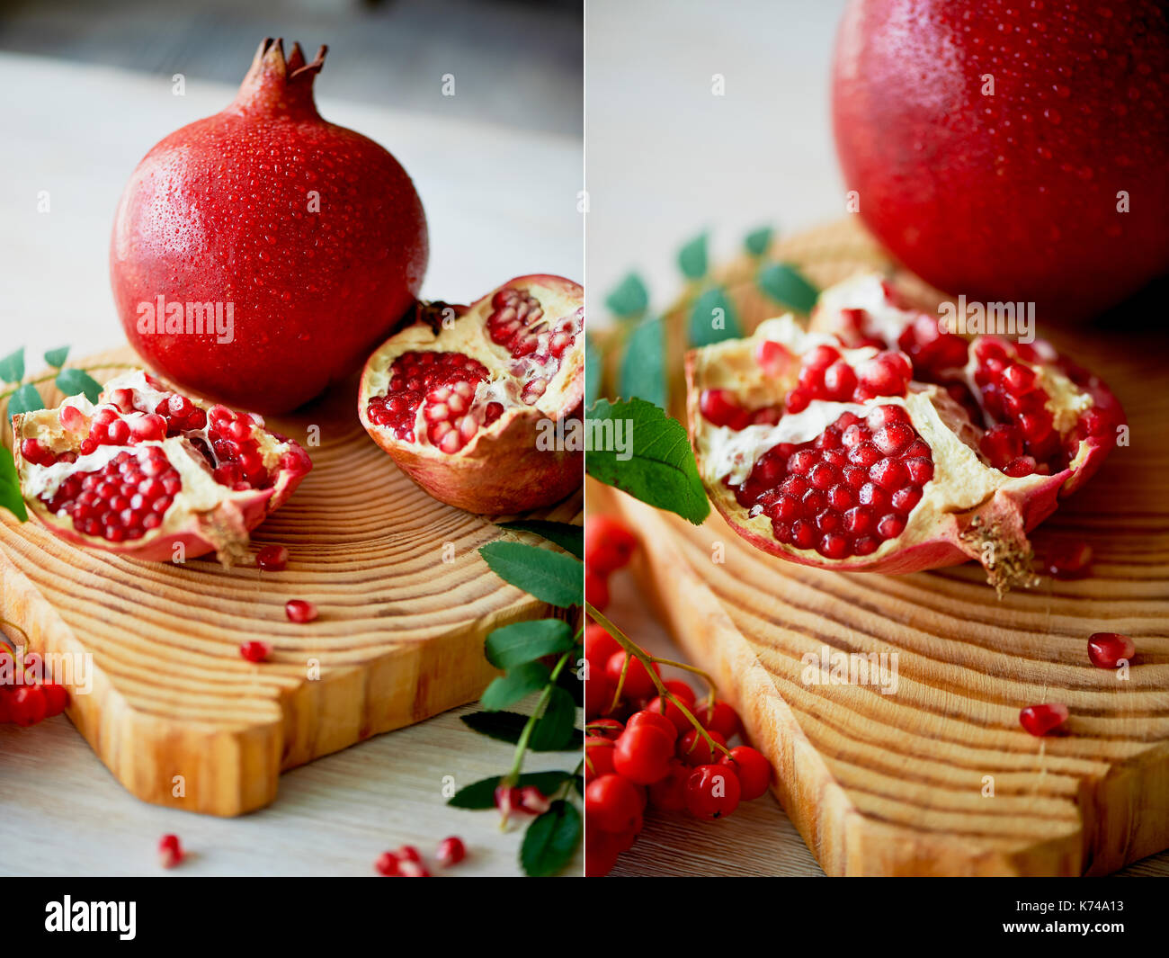 Fresh juicy pomegranate on a light background. On the wooden end of it. Next brush the ash. Healthy eating.Vegetarianism. Collage - Stock Image