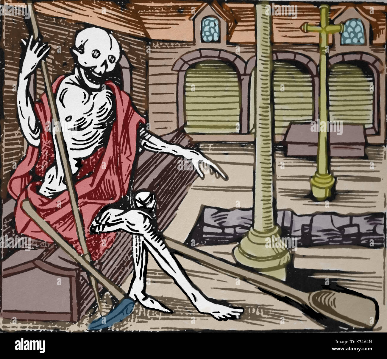 Memento mori. Death in the cloister. From Robert Gobi, The ravishing Wolves. 16th century. - Stock Image