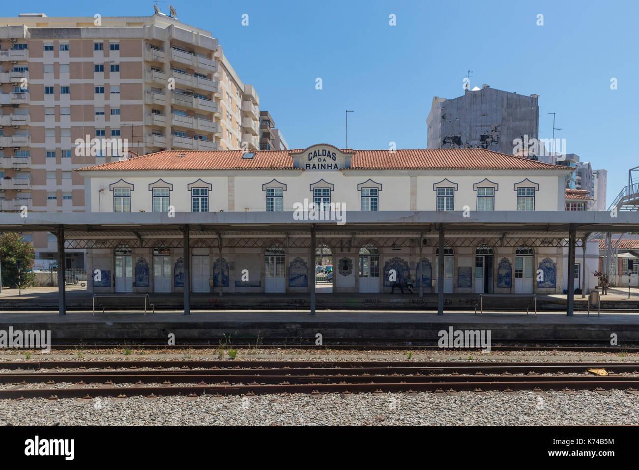 Railway tracks and platform of the Caldas da Rainha railway station Portugal - Stock Image