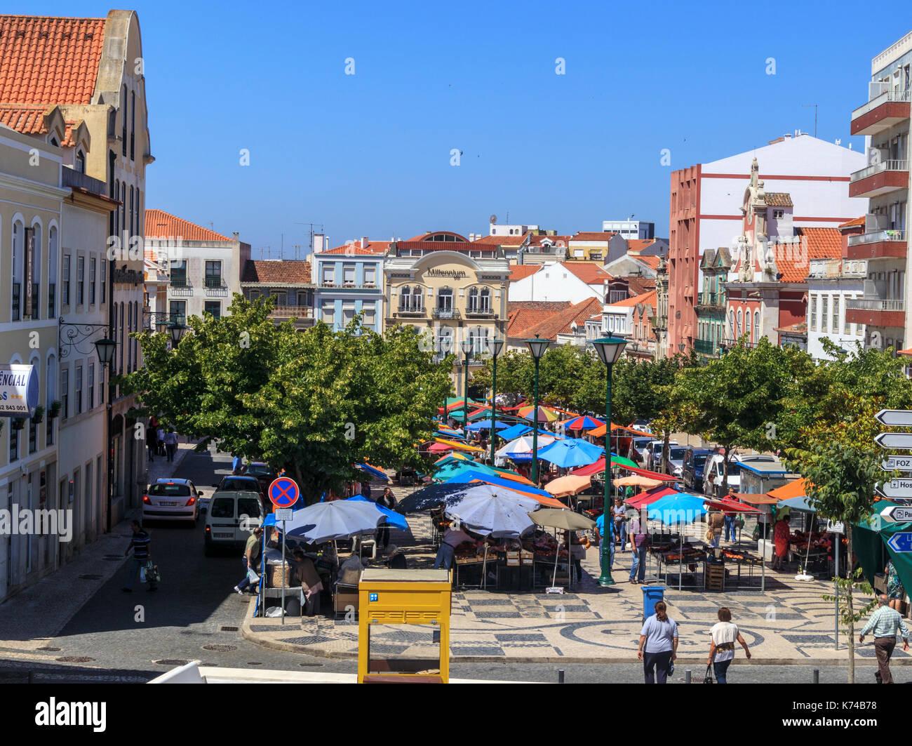 Looking along the Praca Da Fruta daily morning market in Caldas da Rainha Portugal - Stock Image