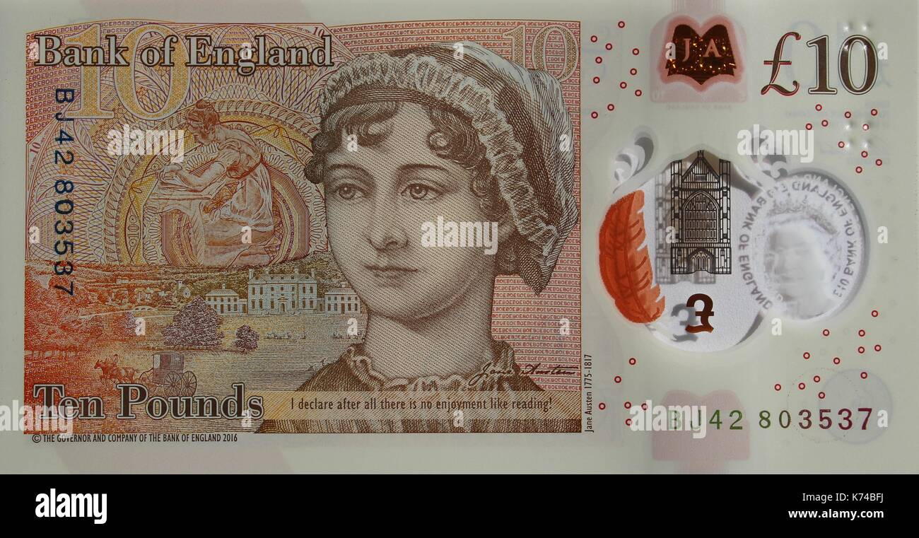 New Ten Pound Polymer Note issued September 2017 - Stock Image