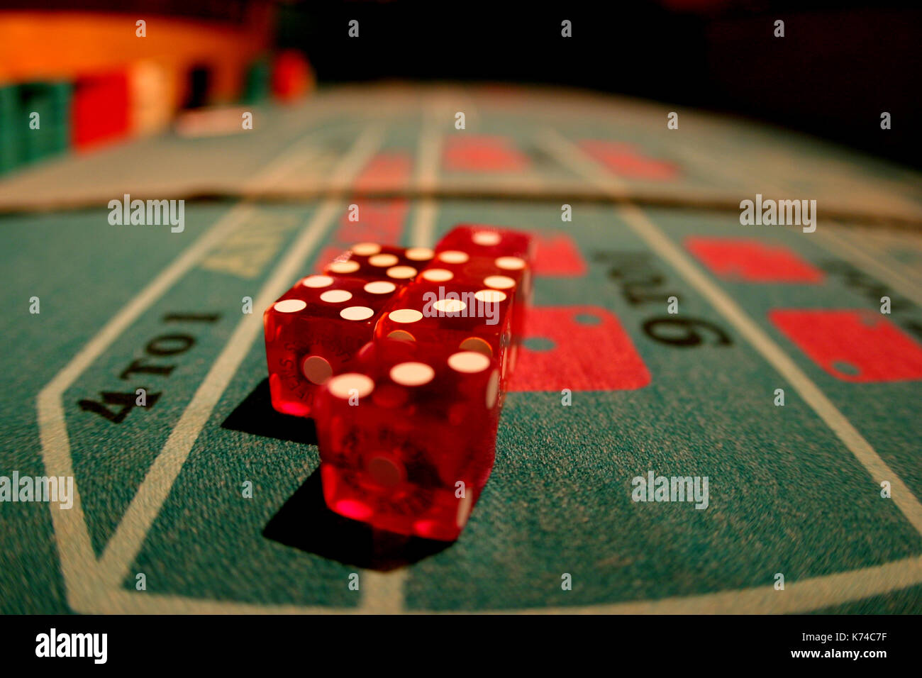 Dice on Craps Table Stock Photo