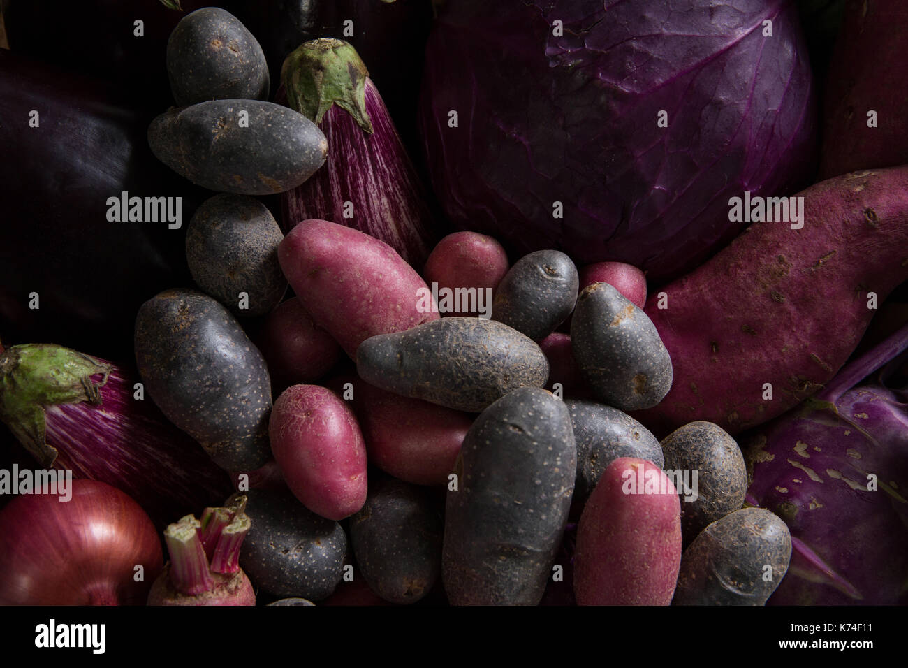 Close-up of various fresh vegetables Stock Photo