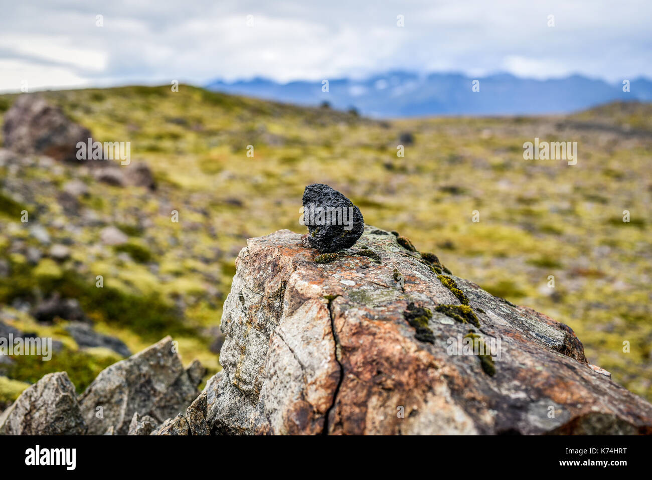 A lava stone standing against the backdrop of Icelandic landscapes and vegetation. - Stock Image