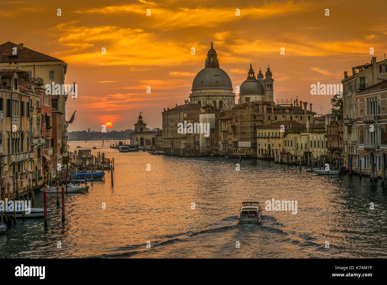 Sunrise photo from Academia bridge over Grand Canal in Venice. - Stock Image