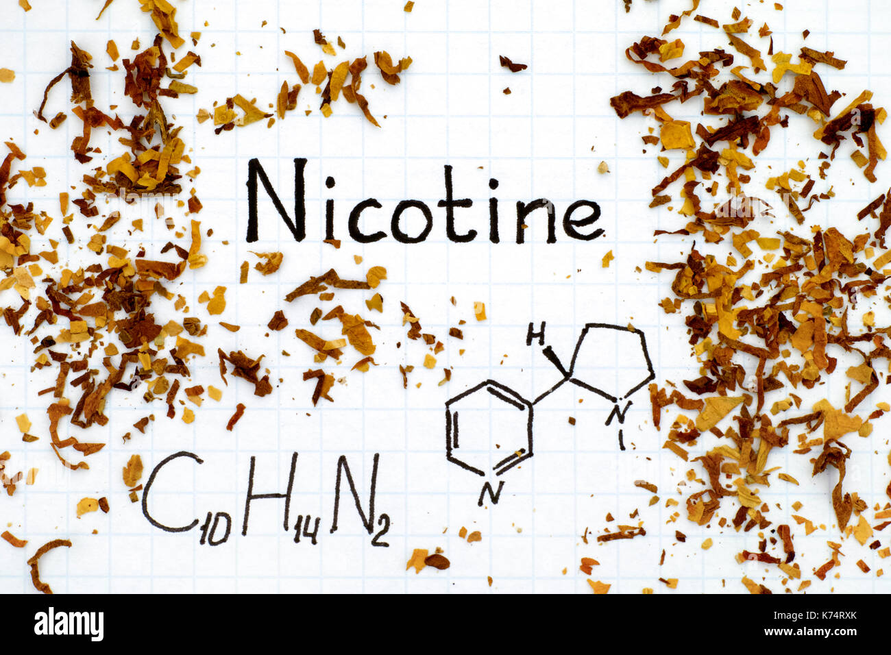 Chemical formula of Nicotine with spilled tobacco. Close-up. - Stock Image
