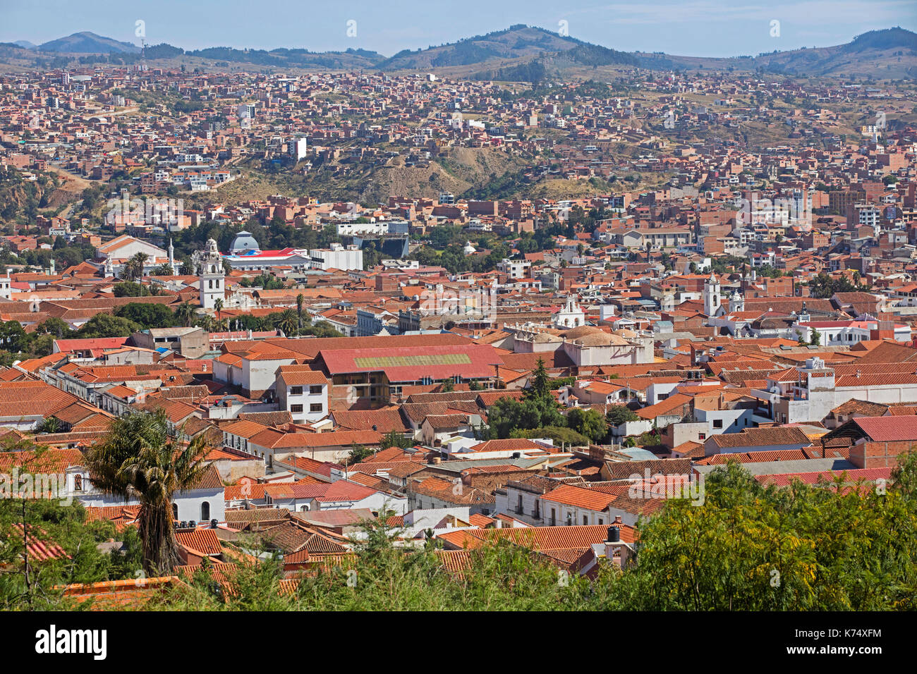 Aerial View Over The White City Of Sucre Constitutional Capital Of Stock Photo Alamy