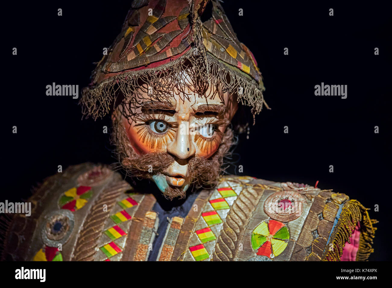 Traditional ornate mask in the Museo Nacional de Etnografía y Folklore / MUSEF, ethnographic museum in Sucre, Bolivia - Stock Image