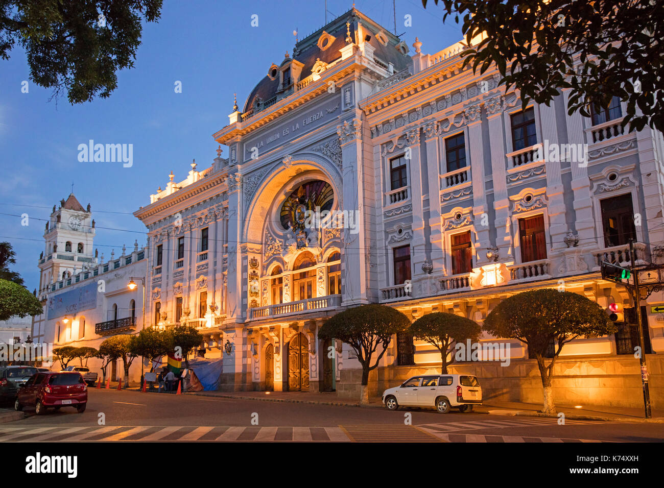Chuquisaca Governorship Palace in republican architecture style in the city Sucre, constitutional capital of Bolivia Stock Photo