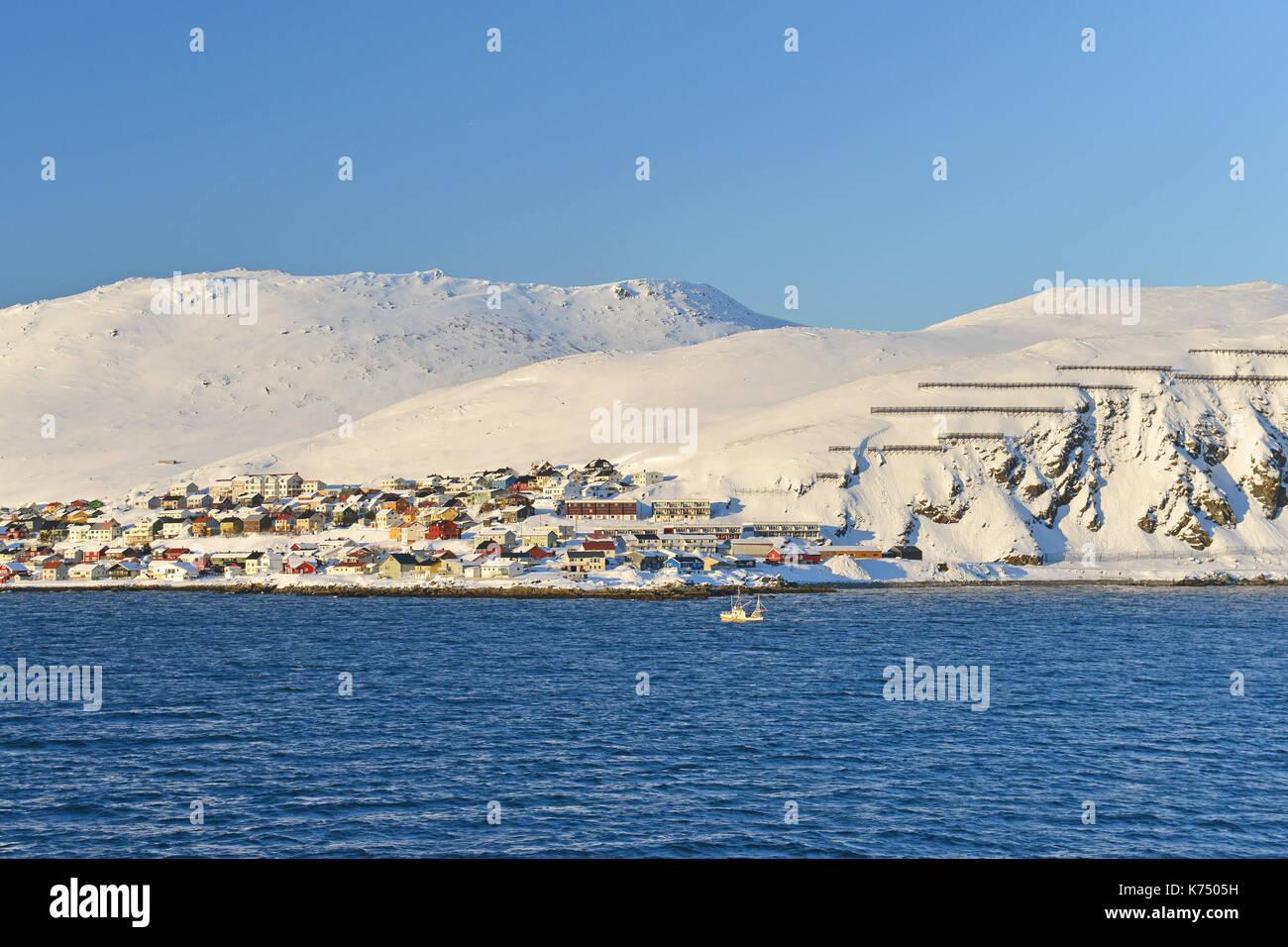 Town of Honningsvåg, Island Magerøya, Finnmark, Norway - Stock Image