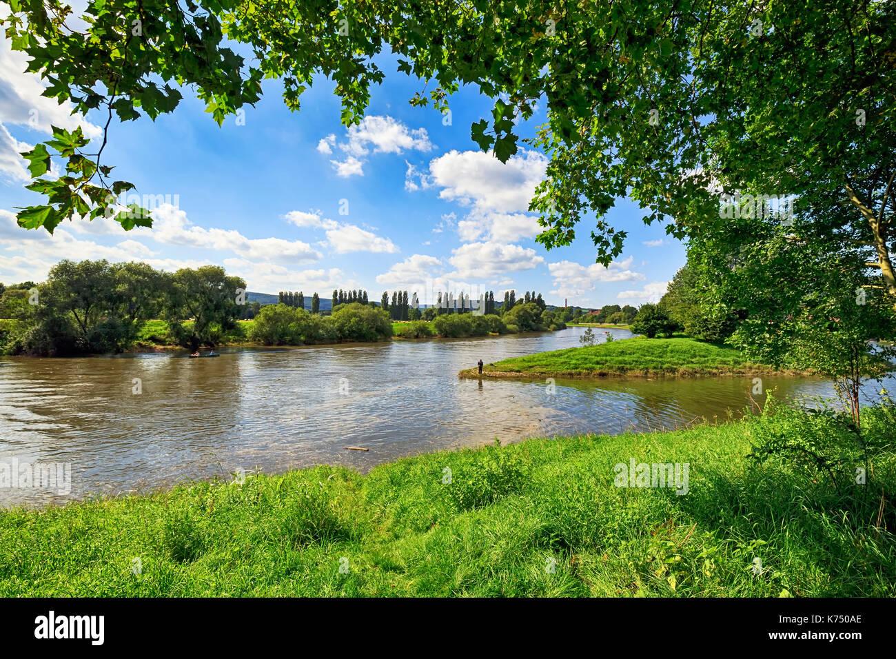 Weser near Höxter, Weserbergland, North Rhine-Westphalia, Germany - Stock Image