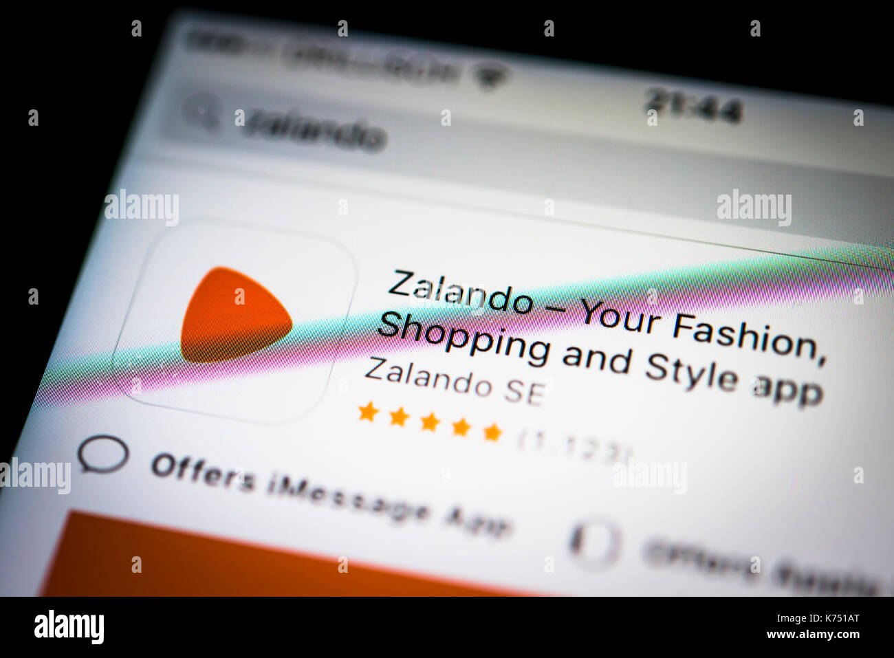 Zalando App in the Apple App Store, App-Icon, display on a screen of a mobile phone, iPhone, iOS, Smartphone, macro recording - Stock Image