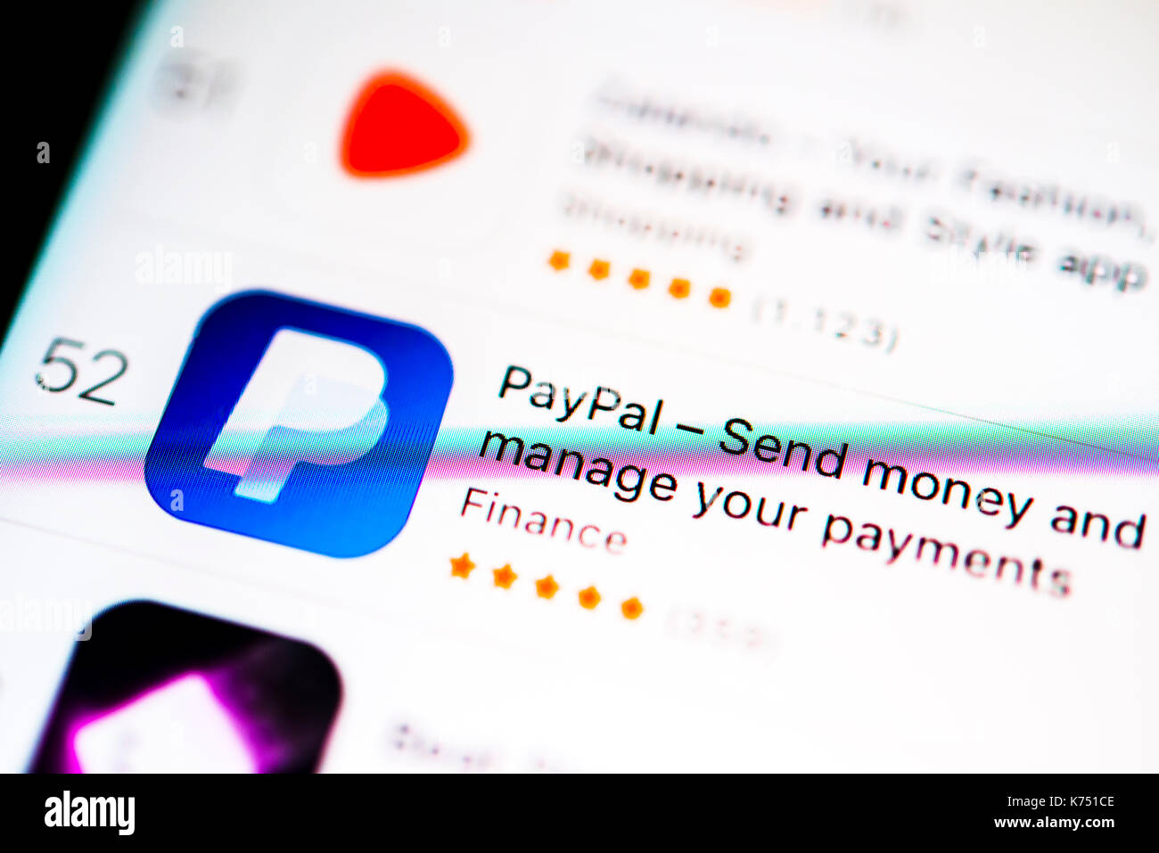 PayPal app in the Apple App Store, online banking, display