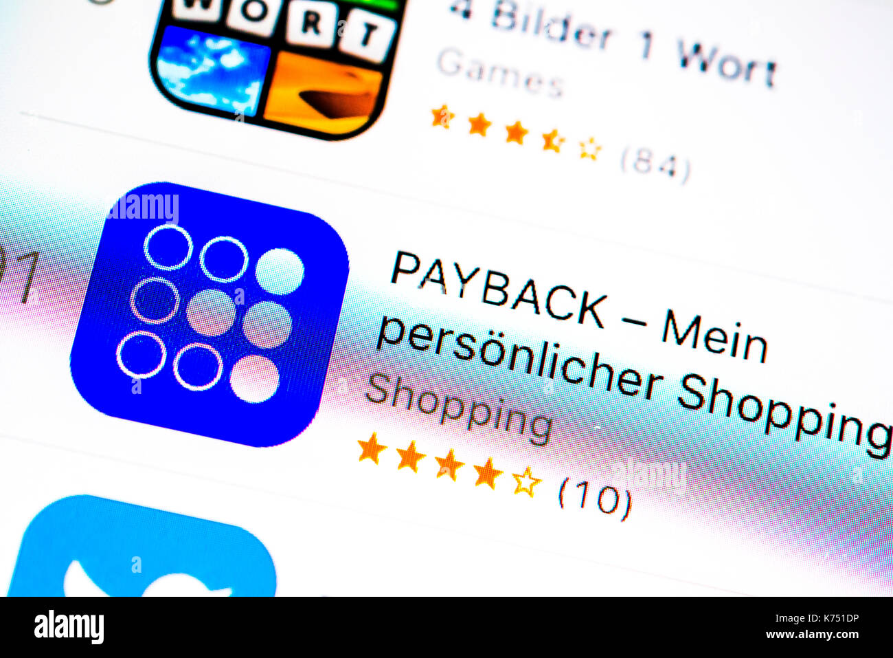 PayBack app in the Apple App Store, app icon, display on a screen of a mobile phone, iPhone, iOS, smartphone, macro recording - Stock Image