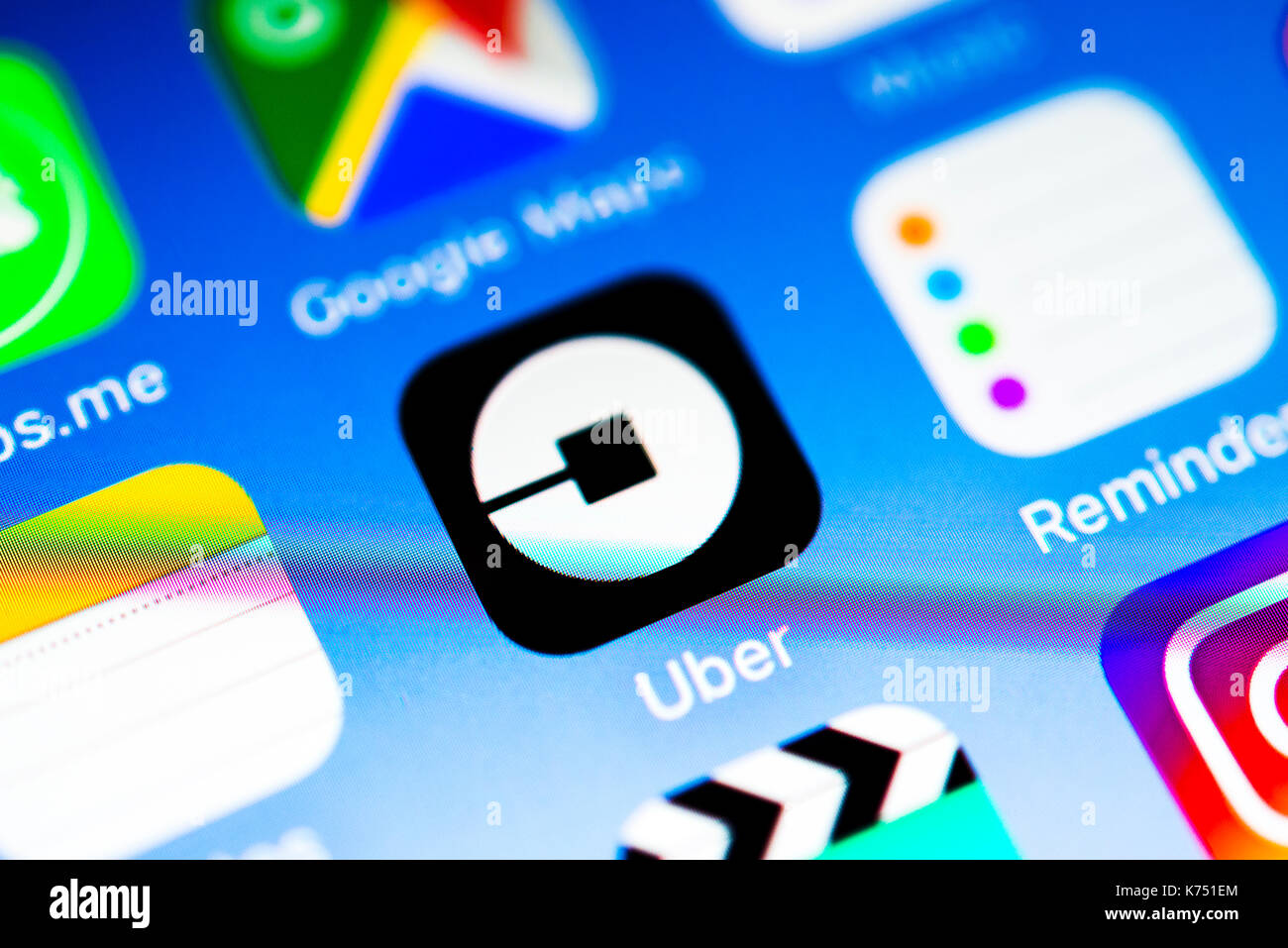 About App, App-Icon, Display on a screen of a mobile phone, iPhone, iOS, Smartphone, Macro recording, Detail, full size - Stock Image