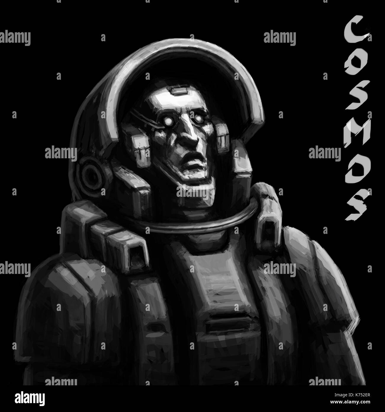 Astronaut sketch on black background. Cool science fiction spaceman cover. Serious character in space suit. Day of astronautics. Freehand digital draw - Stock Image