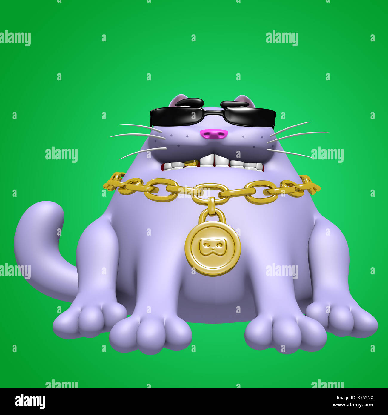 0547a1be835 Cute fat cat in black glasses and golden medallion. 3D illustration. Funny  cartoon character