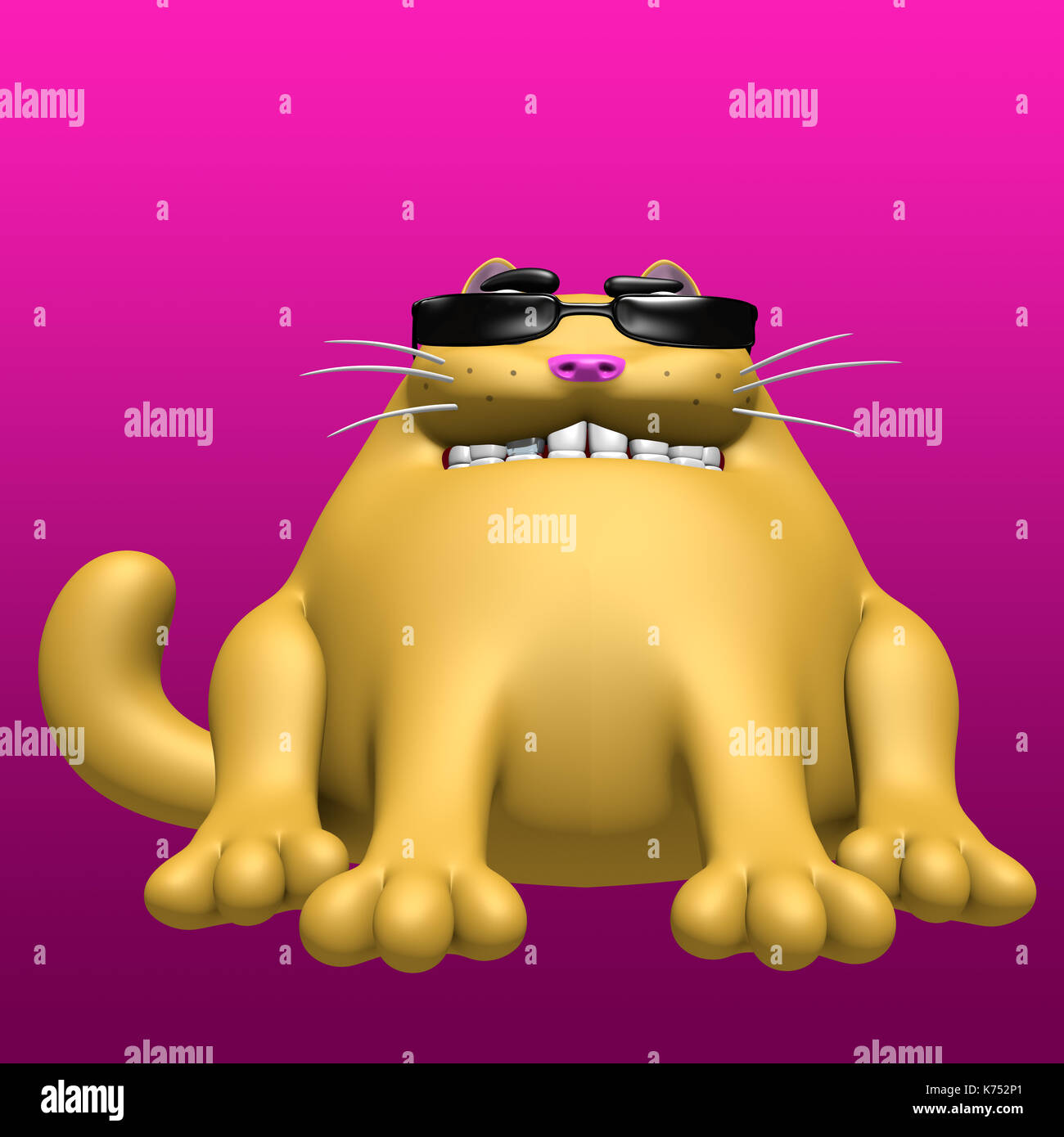 af27c36e60c Cute fat cat in black glasses. 3D illustration. Funny cartoon character. -  Stock