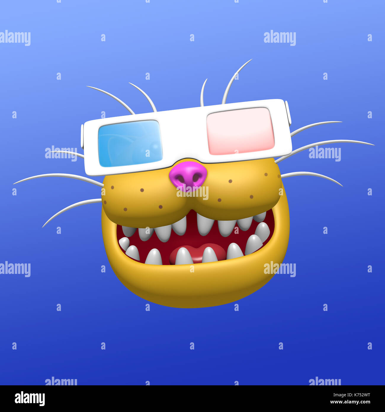 d75fb60dc03 Funny smiling orange cat muzzle in 3d glasses. 3D illustration. Cute  cartoon character.