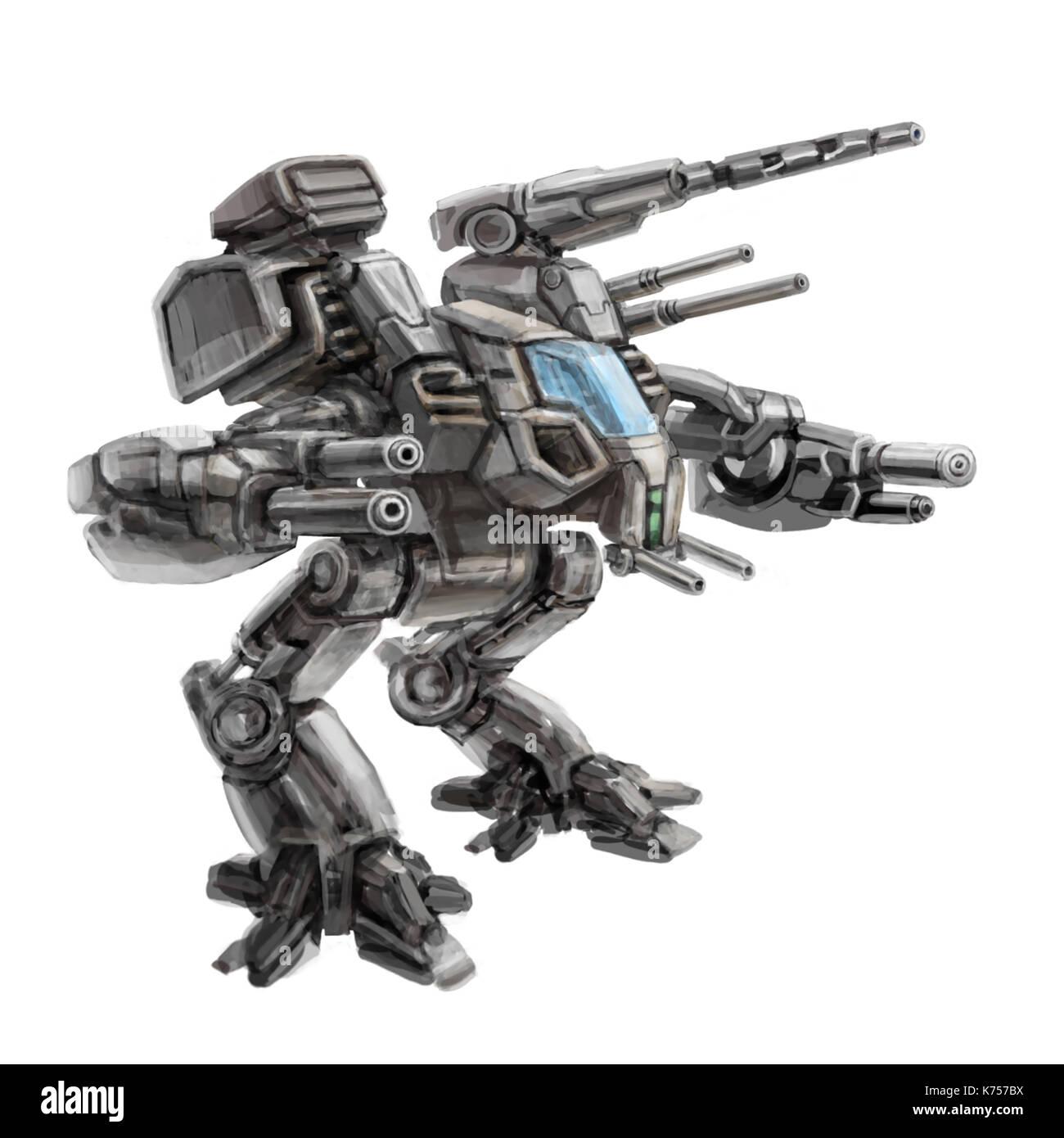 Two-legged walking combat robot. Science fiction illustration. Original sci-fi military vehicle concept. - Stock Image