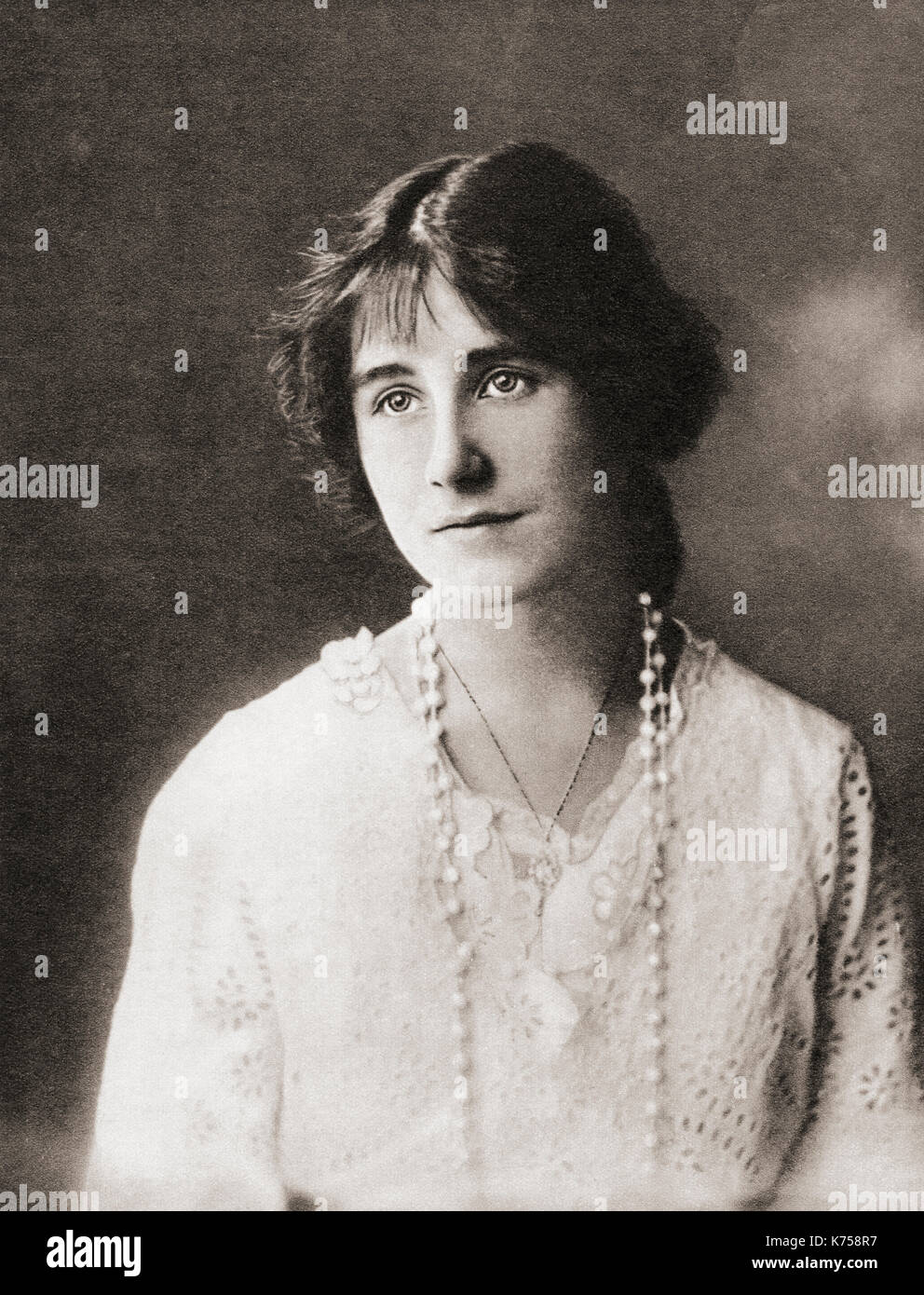Lady  Elizabeth Angela Marguerite Bowes-Lyon, 1900 – 2002, seen here aged 16.  Future Duchess of York, Queen Elizabeth as wife of King George VI and mother of Queen Elizabeth II.  From The Coronation Book of King George VI and Queen Elizabeth, published 1937. - Stock Image