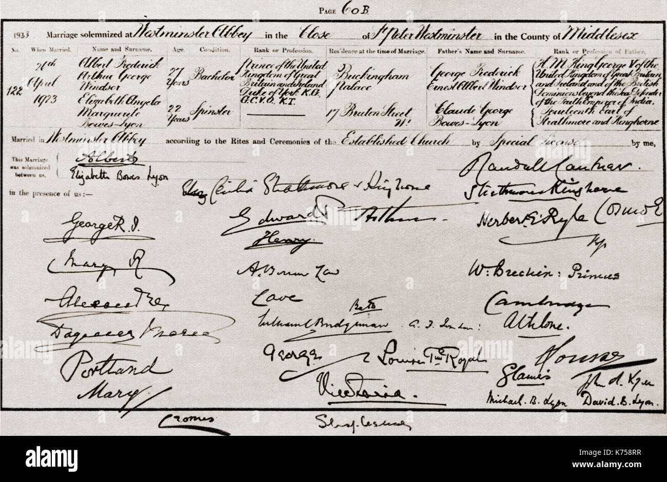 The marriage certificate of the Duke and Duchess of York, 1923 Stock ...